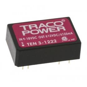 TEN 3-1222, 12Vin ±12Vout ±125mA 3W DC/DC Konvertör