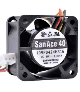SanAce 109P0424H316, 40X40X28mm 24VDC 0.095A 3 Kablolu Fan