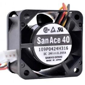 SanAce 109P0424H316, 40X40X28mm 24VDC 0.095A 3 Kablolu Fan