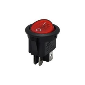 AF131-4, Yuvarlak Işıklı Anahtar 0-1 220V 4P Kırmızı