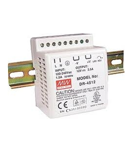 DR-45-12, 12VDC 3.5A Ray Montaj SMPS, MeanWell