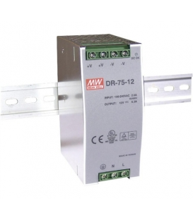 DR-75-12, 12VDC 6.3A Ray Montaj SMPS, MeanWell