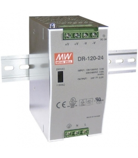DR-120-12, 12VDC 10.0A Ray Montaj SMPS, MeanWell