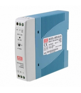 MDR-20-12, 12VDC 1.67A Ray Montaj SMPS, MeanWell