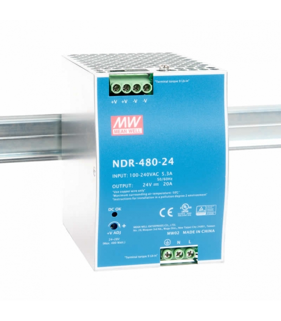 NDR-480-24, 24VDC 20.0A Ray Montaj SMPS, MeanWell