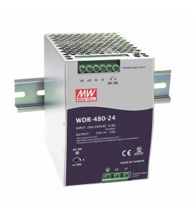 WDR-480-24, 24VDC 20.0A Ray Montaj SMPS, MeanWell