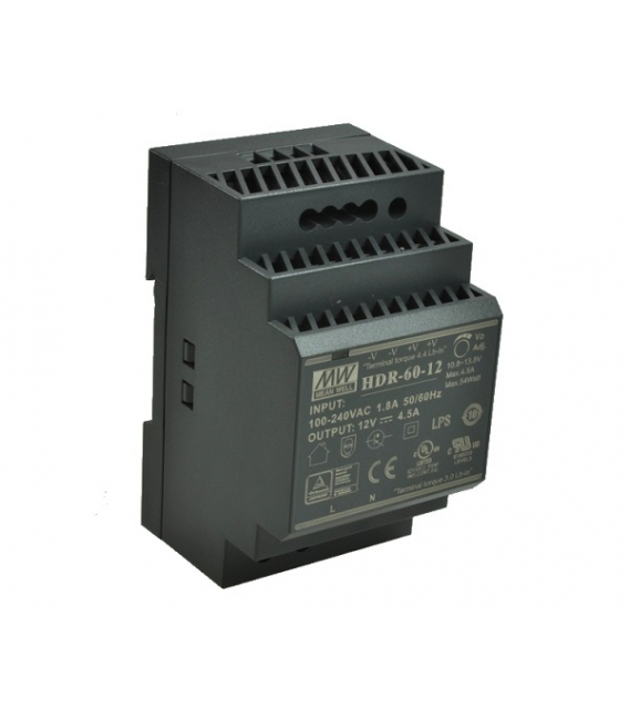 HDR-60-12, 12VDC 4.50A Ray Montaj SMPS, MeanWell