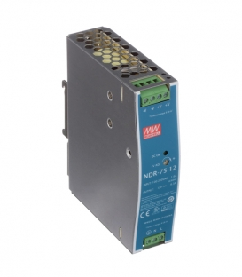 NDR-75-12, 12VDC 6.3A Ray Montaj SMPS, MeanWell